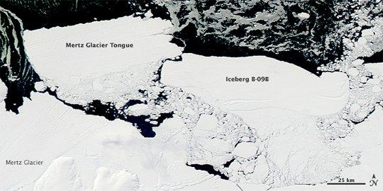 B-09B kollidiert mit der Mertz-Gletscherzunge