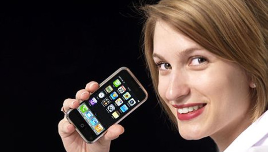woman holding iphone