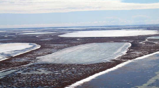 Permafrost below shallow lakes such as these on Alaska's coastal plain is thawing as a result of changing winter climate. Image: Christopher Arp, University of Alaska Fairbanks