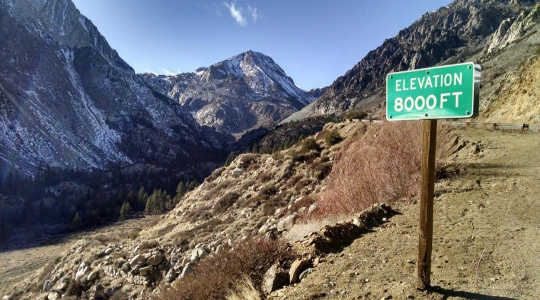 Low precipitation and record high temperatures left Tioga Pass, in California's Sierra Nevada, nearly snowless in January 2015. Image: Bartshé Miller
