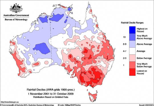 South-east Australia during the peak of the millennium drought (2001-2009) Australian Bureau of Meteorology
