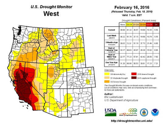 The California drought is continuing into its fifth year. US Drought Monitor