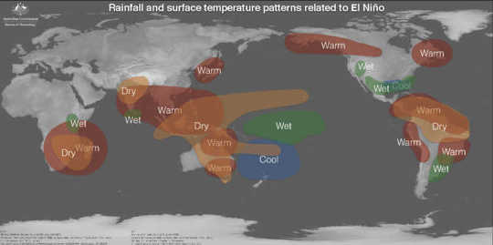 Impactos típicos de El Niño en todo el mundo. Oficina Australiana de Meteorología