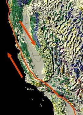 Map of the San Andreas Fault, showing relative motion. USGS PD