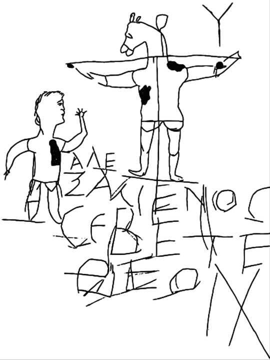 Alexamenos Graffito, Vector opgespoor uit Antieke Rome in die lig van Onlangse Ontdekkings (1898) deur Rodolfo Lanciani Wikimedia Commons