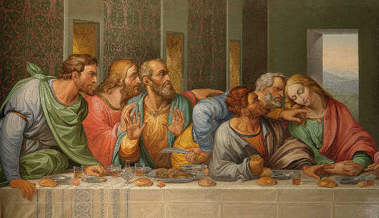 Detail Da Vinci's The Last Supper by Giacomo Raffaelli. Judas seated second right. Alberto Fernandez Fernandez [GFDL (http://www.gnu.org/copyleft/fdl.html), CC BY 2.5 via Wikimedia Commons, CC BY