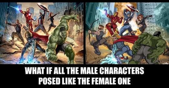 Bagaimana Penunggang boleh melihat jika pandangan lelaki juga diterapkan kepada mereka, menurut The Hawkeye Initiative.