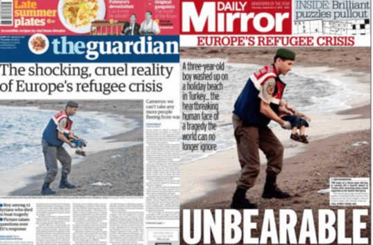 비극의 장면 : 3 세의 에이런 쿠르디 (Aylan Kurdi)의 시체가 전 세계에서 첫 페이지를 만들었습니다.