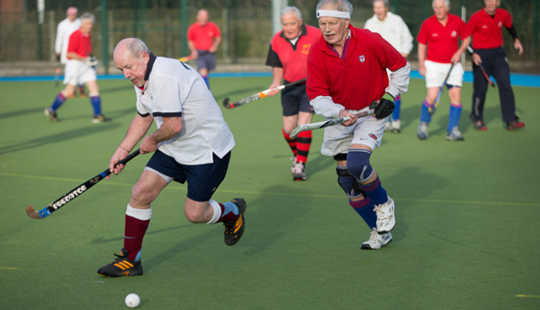 Over 75s hockey match. Alex Rotas