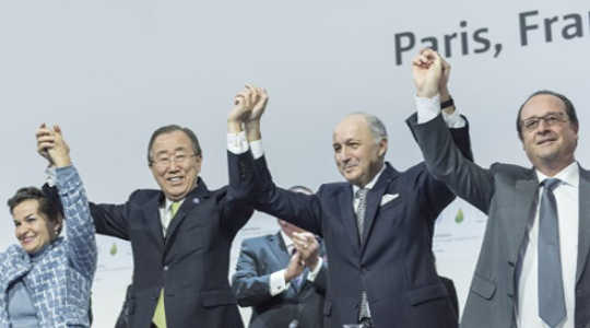World leaders in jubilant mood after the Paris Agreement was reached last December. Image: United Nations Photo via Flickr