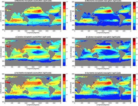 Kaarte van drie modeloplossings vir die hoeveelheid mikroplastika wat in die globale oseaan as deeltjie tellings dryf (linkerkolom) en as massa (regter kolom). Rooi kleure dui op die hoogste konsentrasies, terwyl blou kleure die laagste is. Van Sebille et al (2015)