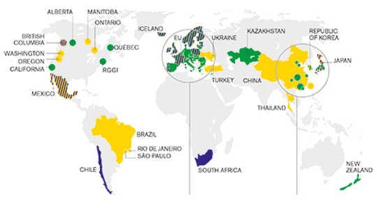 Grafisk av globala system för utsläppshandel och koldioxidskatt anpassad från Världsbankens grupp: Statliga och trender för kol prissättning 2015. Stora cirklar representerar subnationella instrument; små cirklar representerar städer.