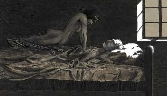 Sleep paralysis. My Dream, My Bad Dream, 1915. Fritz Schwimbeck/wikimedia