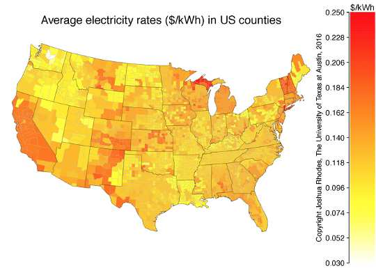 Map of average electricity rates across the U.S. EIA