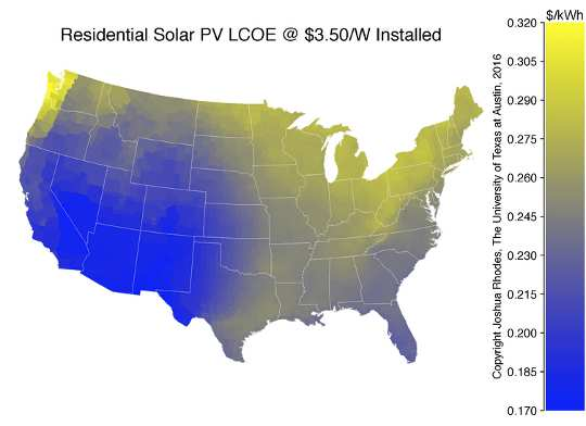 LCOE of residential solar across the U.S.