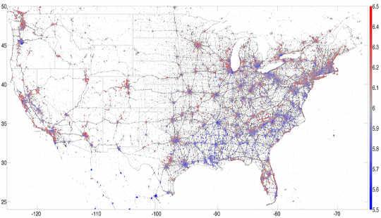13: n 2013-maantieteellisesti sijoittuneiden USA: n tweettien kartta, jonka väri on onnea, punainen, joka osoittaa onnea ja sinistä, mikä osoittaa surua. PLOS ONE, Tekijä