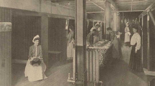 A 19th-century photograph of a women's restroom in a Pittsburgh factory. Author provided