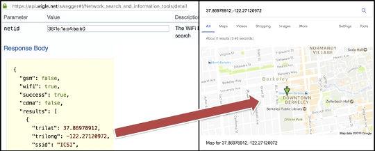 Verbinden van het MAC-adres van een apparaat met een fysiek adres (behorend tot ICSI) met behulp van Wigle.