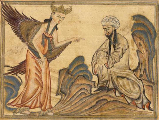 Mohammed receiving his first revelation from the angel Gabriel.
