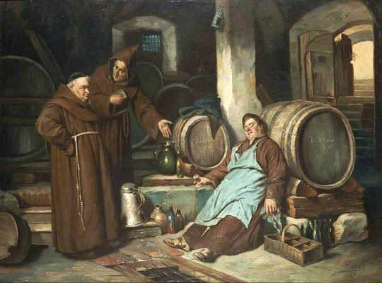 Monks in a cellar.