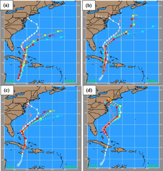 Prognoser før orkanen Sandy var uenig på stormens spor.