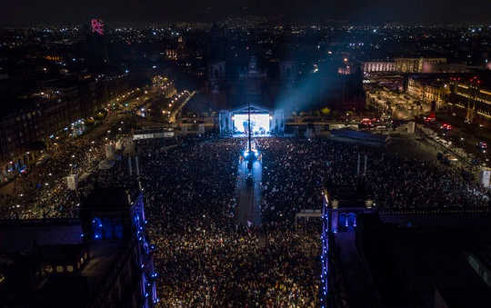 Mexico City's main square, the Zócalo, as Andrés Manuel López Obrador delivers his victory speech on July 1, 2018.
