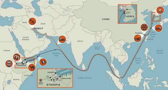 फ्लिप-फ्लॉप ट्रेल का नक्शा।