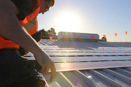 The solar cells can be installed with little more than sticky tape.