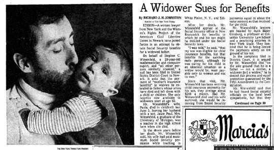 न्यू यॉर्क टाइम्स लेख विज़ेनफेल्ड मामले के बारे में है, जो गिन्सबर्ग को 'एक महिला वकील' के रूप में संदर्भित करता है।