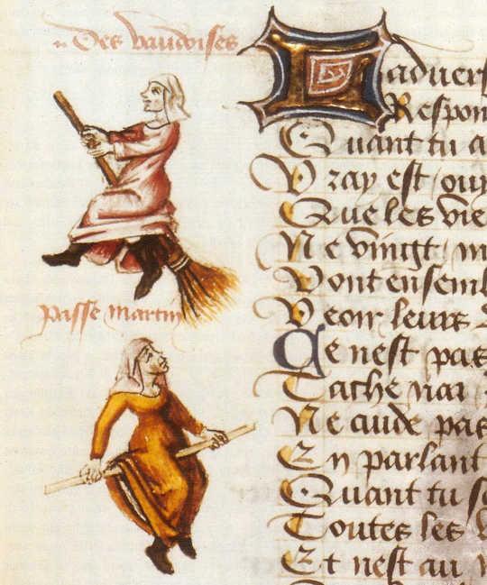 Эволюция средневековой ведьмы и почему она обычно женщина: Champion des Dames, палочки метлы XIVX века.