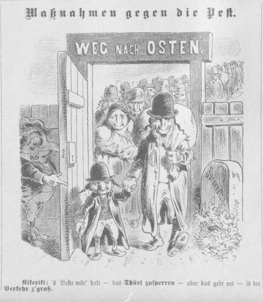 """Cartoni spesso raffiguravano persone ebree che scendevano """"in massa"""" in una città. (Come gli stereotipi antisemiti di un secolo fa echeggiano oggi)"""