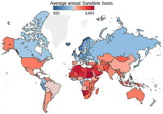average annual sunshine hours
