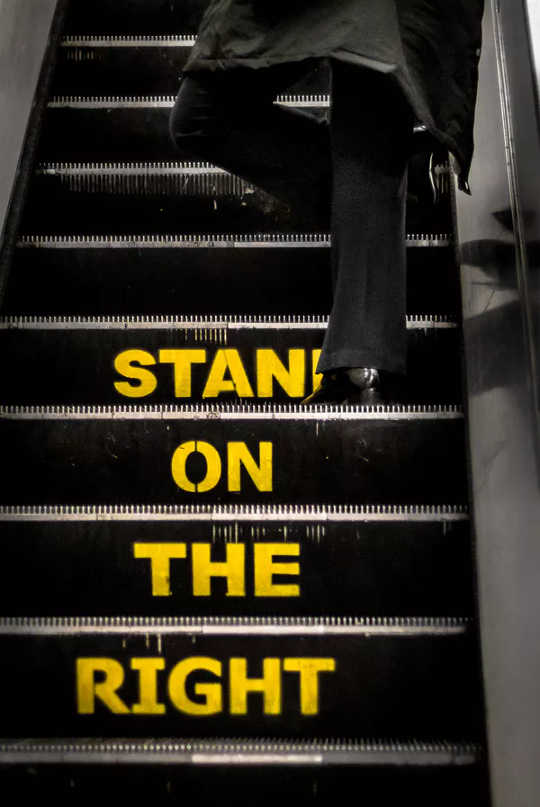 Is this the best advice? (should you stand or walk on a escalator for an efficient ride?)