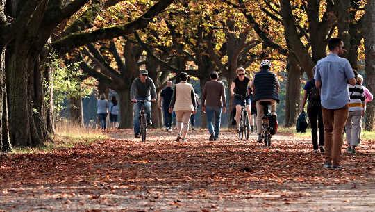 Menschen, die durch einen Park gehen und Rad fahren