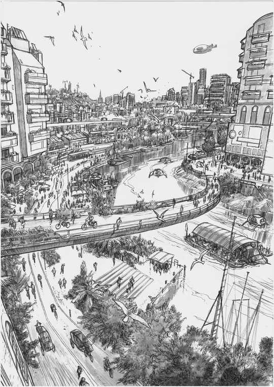 Khu phố tuyệt đẹp không có xe hơi của Rebellion giới thiệu Khả năng của một tương lai tươi đẹp, an toàn và xanh tươi