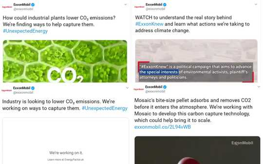 While New Twitter Policy Will Ban Green Groups' Climate Ads, Looks Like ExxonMobil Can Still Pay to Promote Its Propaganda