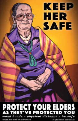 Poster yang mempromosikan kesehatan tetua asli selama pandemi COVID-19. Gambar dari Realitas Asli.