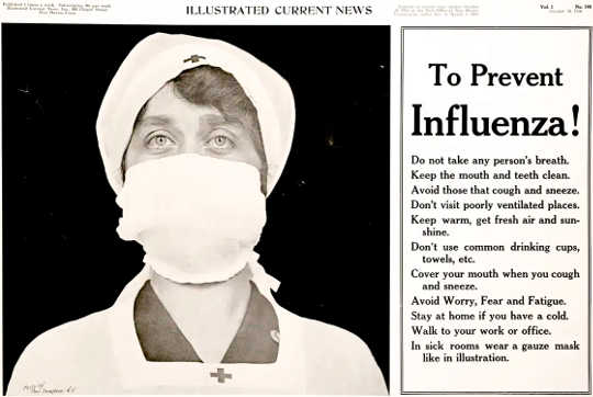 Poster of a Red Cross nurse wearing a gauze mask over her nose and mouth – with tips to prevent the influenza pandemic.