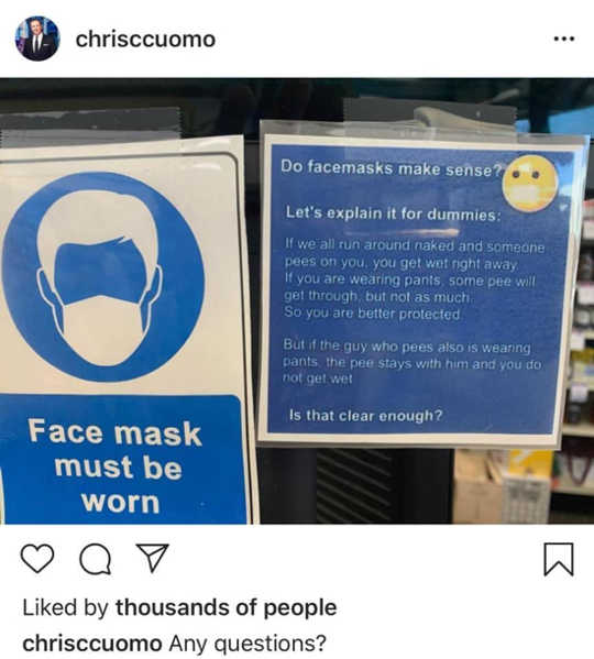 克里斯·库莫(Chris Cuomo)Instagram帖子的屏幕截图