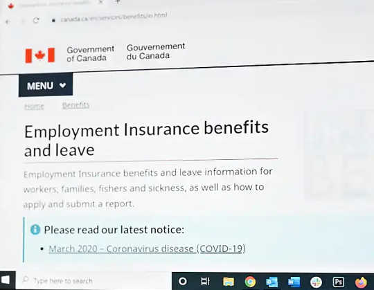 The employment insurance section of the Government of Canada website