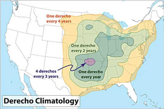 Derechos berlaku secara berkala di sebahagian besar AS setiap tahun, paling kerap dari April hingga Ogos.