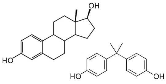 Сравнение структур эстрадиола (слева), женского полового гормона, и BPA (справа), эндокринного разрушителя, обнаруженного в пластике ...