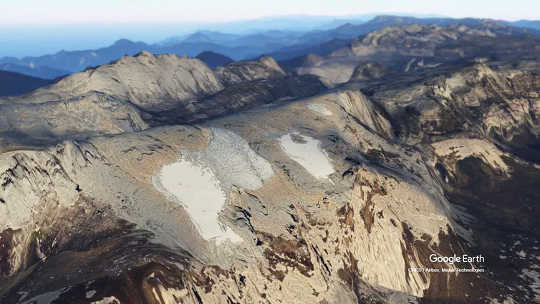 3D回报在Puncak Jaya峰顶的冰川在印度尼西亚。 (古代冰芯如何显示历史上甚至大流行的黑天鹅事件)