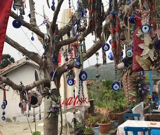 Uma árvore adornada com o símbolo do mau-olhado em uma aldeia turca. (escaravelhos falos olhos malignos como os amuletos antigos tentavam evitar doenças)