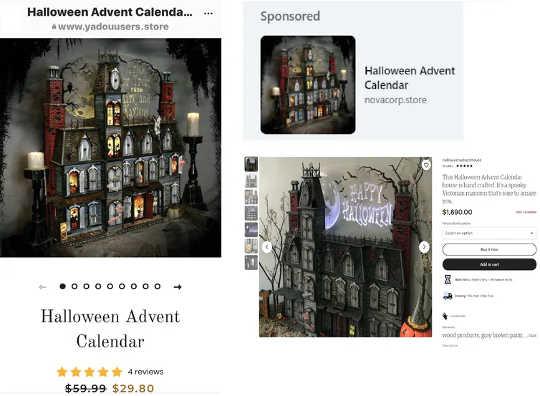 Etsyベンダーから取得した商品画像を使用する10つのオンライン広告(左と右上)(オンラインでの詐欺の買い物を避けるためのXNUMXのヒント)
