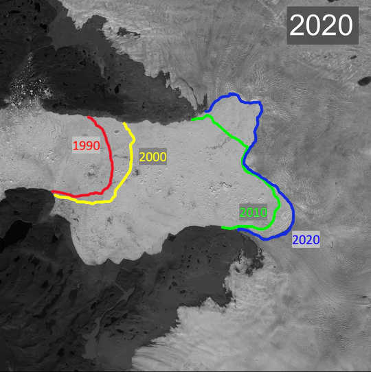 The blue line shows the current boundary between the Jakobshavn Glacier (right side, light gray) and the floating ice (center, white) between the valley walls (top and bottom, dark gray).藍線顯示了Jakobshavn冰川(右側,淺灰色)與山谷壁之間的浮冰(頂部,底部,深灰色)之間的當前邊界。 The other colored lines show where this boundary was in previous years.其他彩色線顯示了該邊界在前幾年的位置。