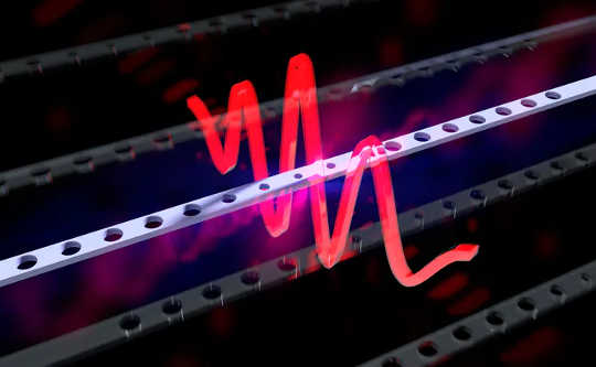 This is an illustration of a resonator in quantum superposition. The red wave represents the wave function.