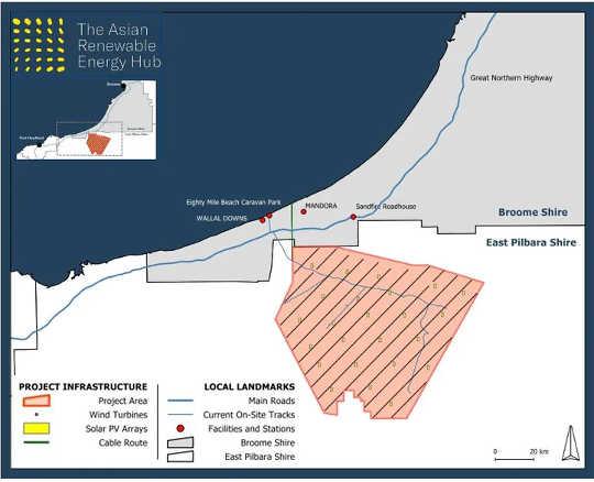 Peta yang menunjukkan lokasi yang diusulkan dari Pusat Energi Terbarukan Asia.