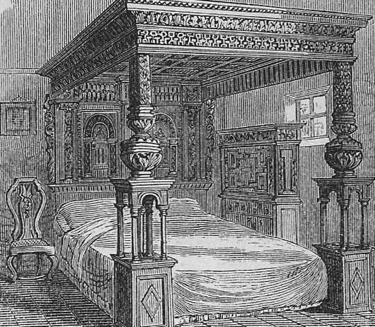 'N Tekening van 1877 van die Great Bed of Ware. (die bisarre sosiale geskiedenis van beddens)
