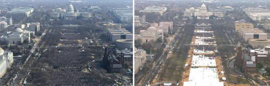 2009'da eski ABD Başkanı Barack Obama'nın (solda) ve Başkan Donald Trump'ın 2017'de (sağda) açılış törenlerinde kalabalığın görüntüleri.